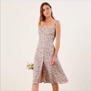 Reformation Persimmon Midi Dress Dolores Floral 4